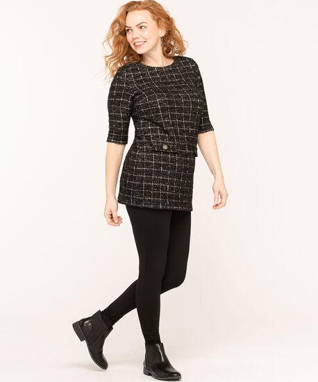 Black Plaid Jacquard Tunic Top, Black/White, hi-res