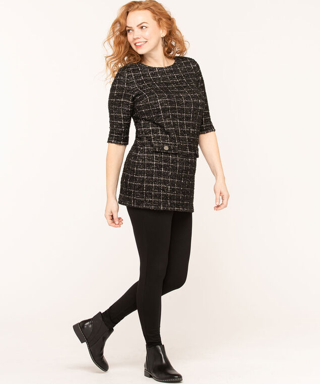 Black Plaid Jacquard Tunic Top, Black/White