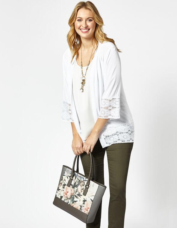 Neutral Floral Square Tote Handbag, Neutral/Grey, hi-res