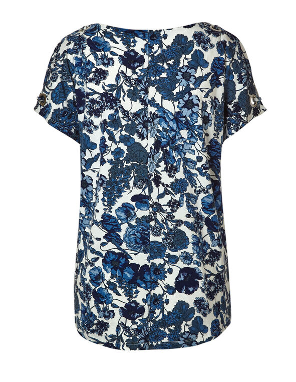 Blue Floral Cold Shoulder Top, Blue, hi-res