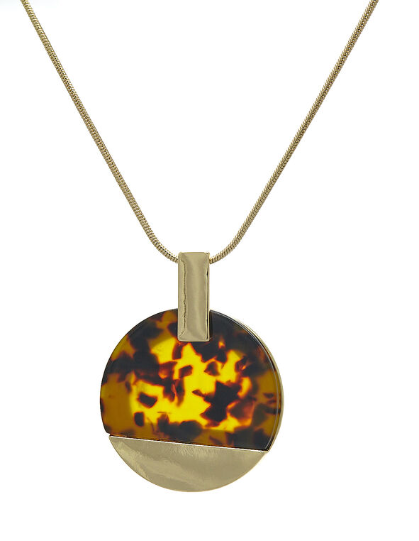 Gold Tortoise Short Necklace, Brown/Gold, hi-res