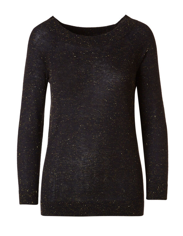 Black Gold Shimmer Raglan Sweater, Black, hi-res
