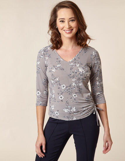Floral Ruched Waist Top, Grey, hi-res