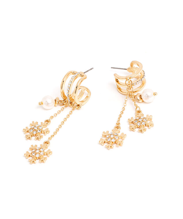 Sideways Cuff Snowflake Earring, Gold