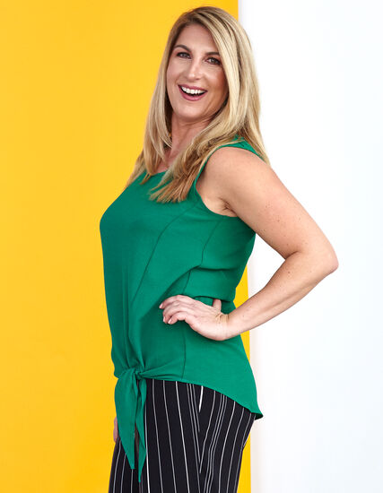 Green Tie Front Crepe Blouse, Kelly Green, hi-res