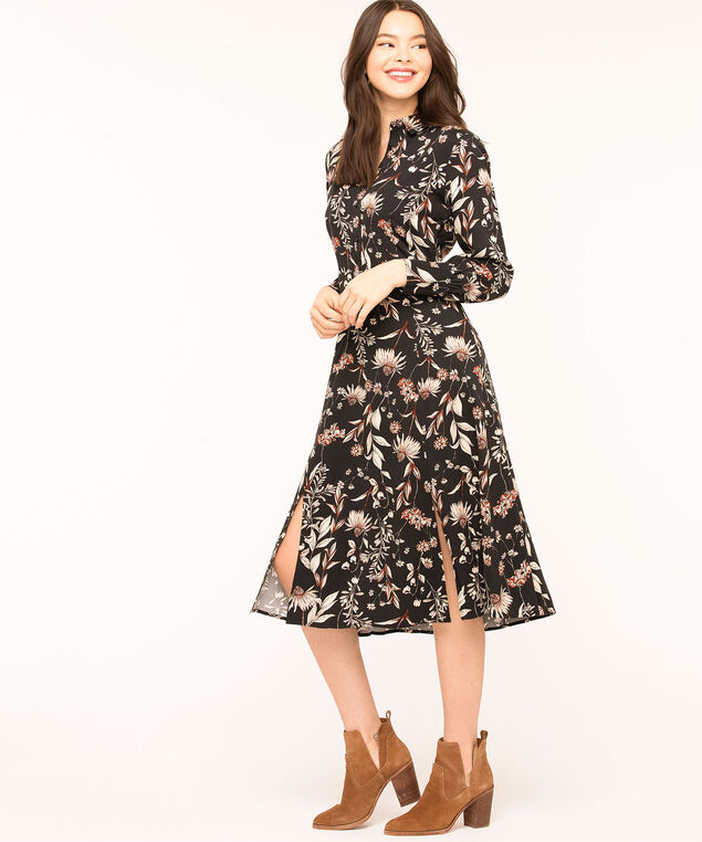 Black Floral Collared Long Dress, Black/Beige/Rust