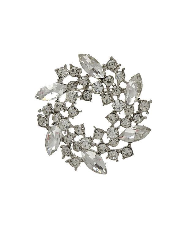 Crystal Wreath Pin, Silver, hi-res