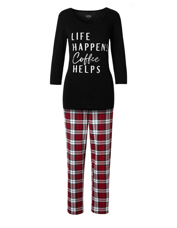 Coffee Helps Cotton Pyjama Set, Black/Red, hi-res