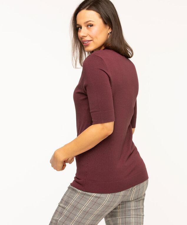 Mock Neck Elbow Sleeve Pullover, Burgundy