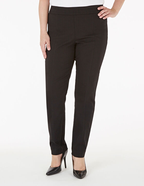 Black Pull On Slim Pant, Black, hi-res