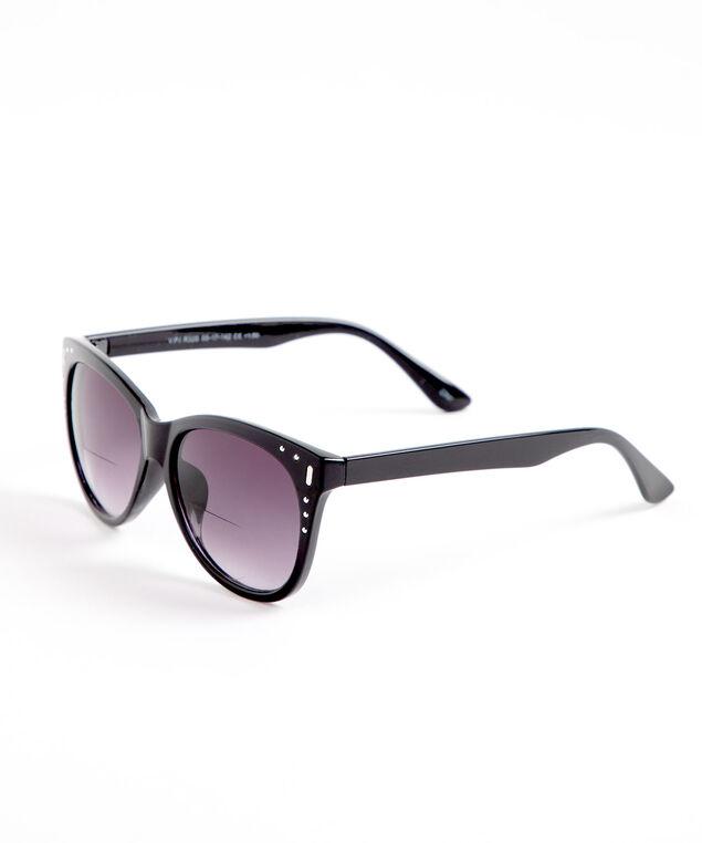 Black Stud Detail Bi-Focal Sunglasses, Black