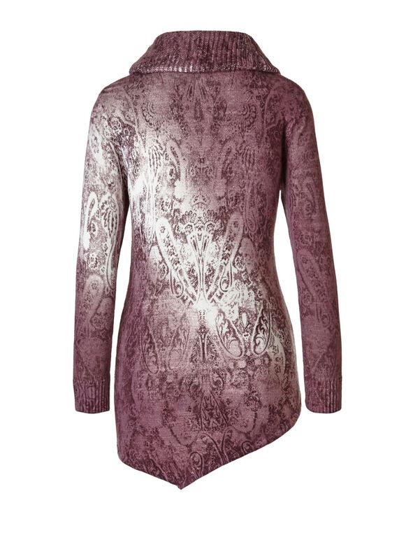 Plum Printed Cowl Neck Sweater, Plum, hi-res