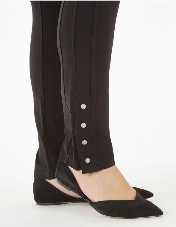 Long Black Snap Bottom Legging, Black, hi-res