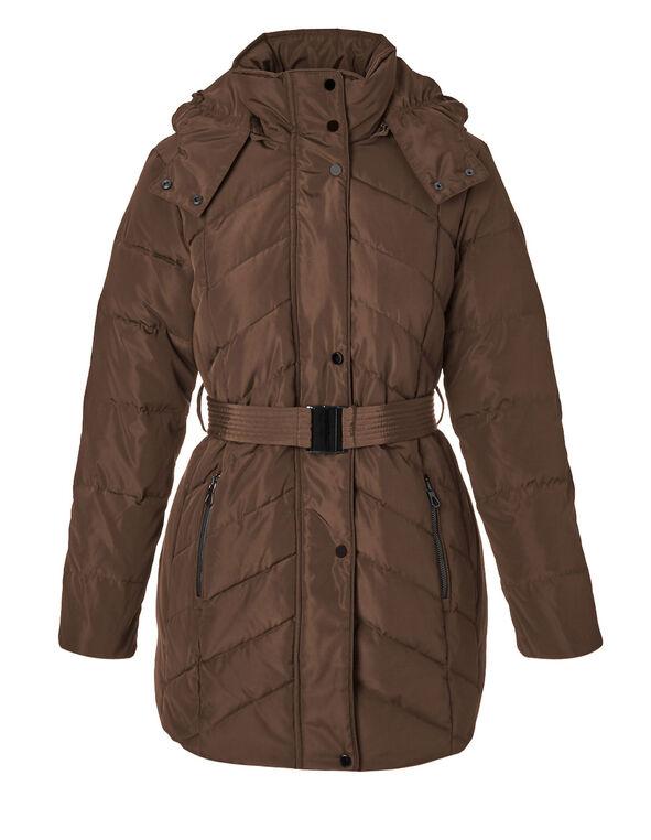 Bronze Short Belted Down Jacket, Bronze, hi-res
