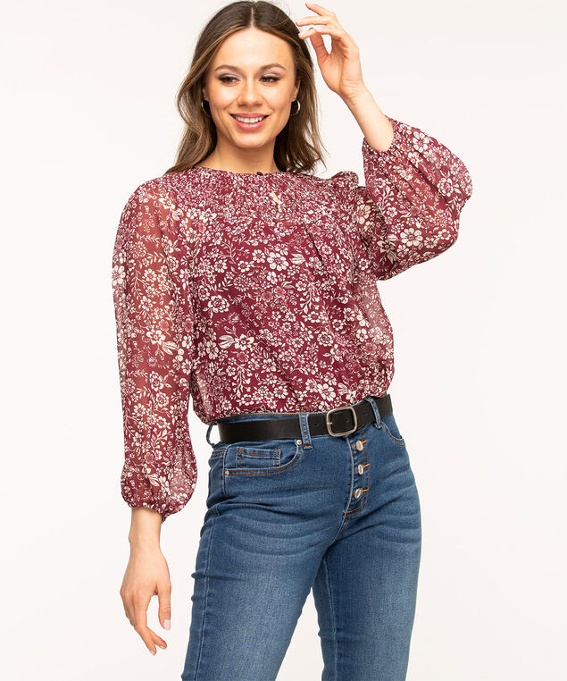 Floral Smocked Balloon Sleeve Blouse, Wine/Ivory