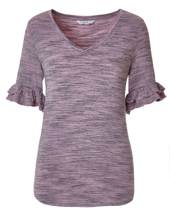 Light Orchid Ruffle Sleeve Top, Light Orchid, hi-res