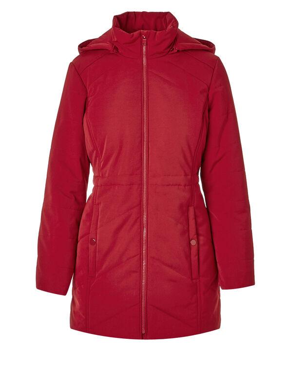 Red Long Polyfill Coat, Red, hi-res