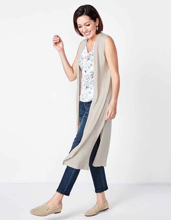 Stone Extra Long Open Cardigan, Stone, hi-res