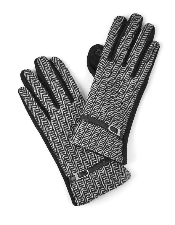 Black Herringbone Print Text Gloves, Black, hi-res