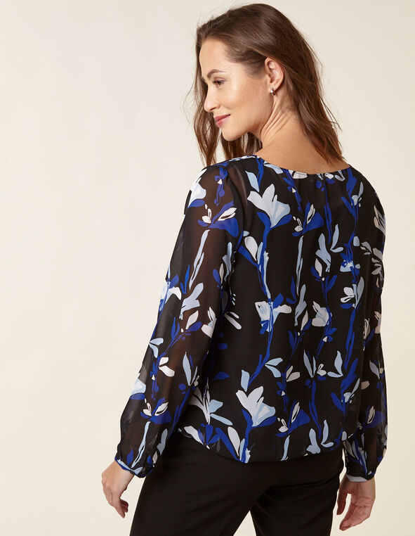Black Printed Chiffon Overlay Blouse, Black/Blue, hi-res