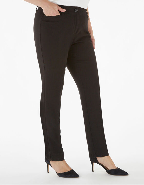 Black Soft Slim Leg Trouser, Black, hi-res