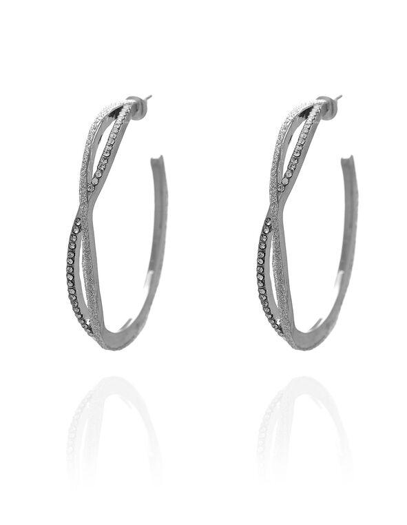 Silver Braided Hoop Earring, Silver, hi-res