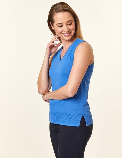 Cornflower Pointelle Knit Sweater, Blue/Cornflower, hi-res