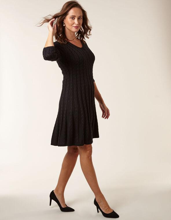 Black Cable Knit Sweater Dress, Black, hi-res
