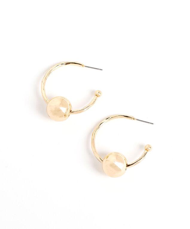 Gold Ball Hoop  Earring, Gold