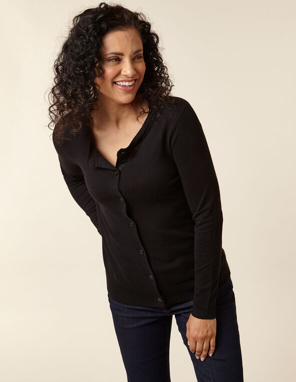 Black Button Front Cardigan, Black, hi-res