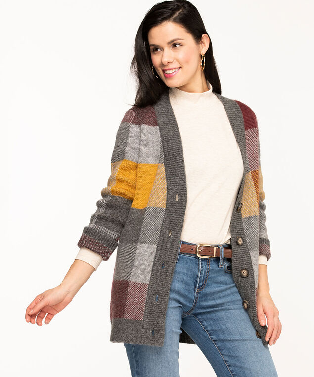 Argyle Button Front Cardigan, Grey/Gold/Wine
