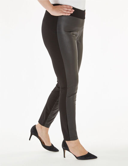 Black Faux Leather Leggings, Black, hi-res