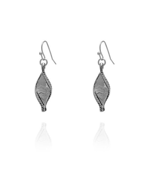 Silver Twist Leaf Drop Earring, Silver, hi-res
