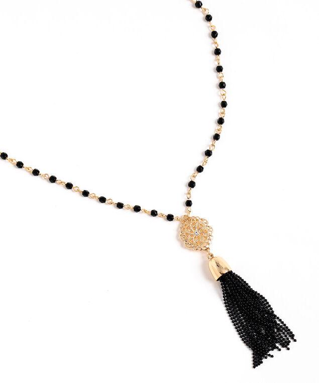Long Beaded Tassel Necklace, Black