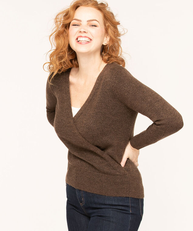 Chocolate V-Neck Wrap Sweater, Chocolate Mix, hi-res