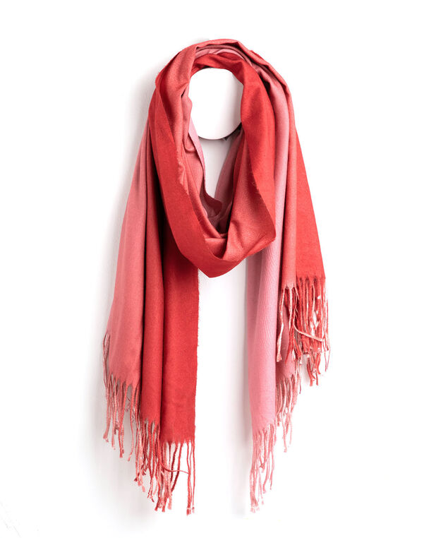 Ombre Fringe Scarf, Red