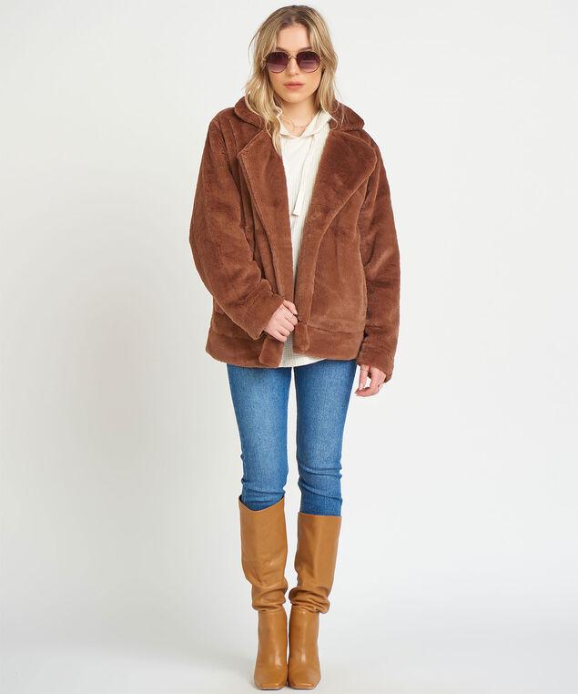 Dex Knit-Lined Faux Fur Jacket, Brown