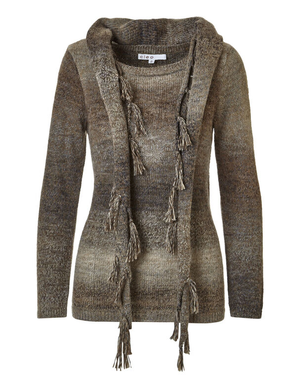 Brown Removable Scarf Sweater, Dark Brown, hi-res