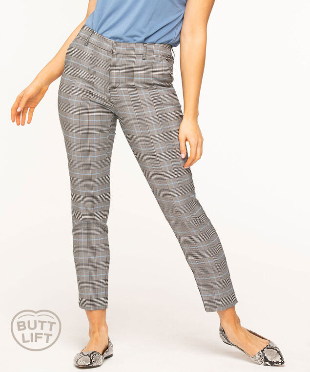 Plaid Butt Lift Slim Ankle Pant, Black/Blue Plaid