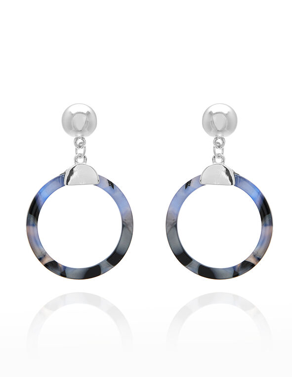 Blue Tortoise Drop Earring, Blue/Silver, hi-res