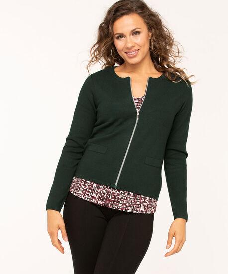 Long Sleeve Zip Front Cardigan, Dk Green, hi-res
