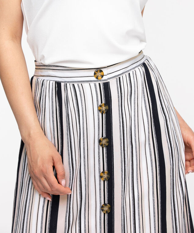 Black Stripe Button Front Midi Skirt, Black/Stone Stripe