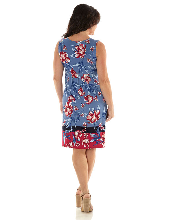 Blue Floral Fit & Flare Dress, Blue/Pink, hi-res