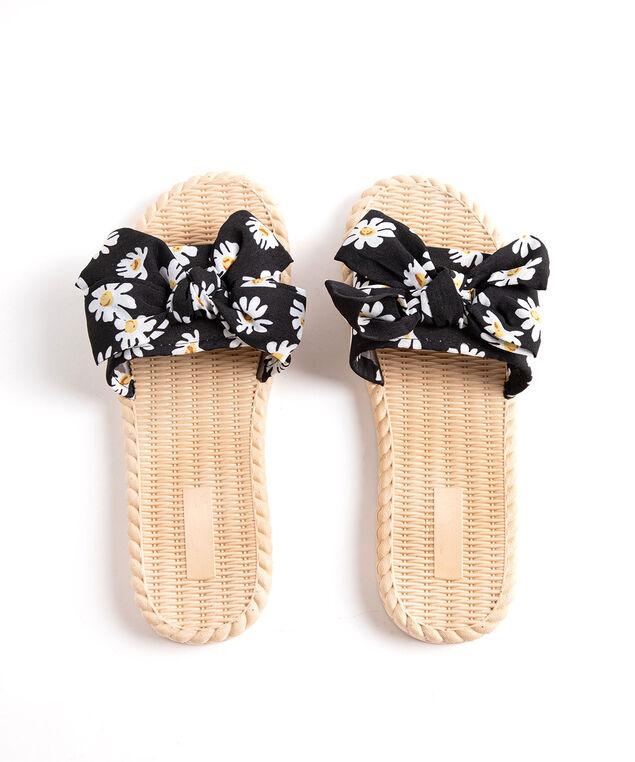 Printed Bow Slide Slippers, Black Floral