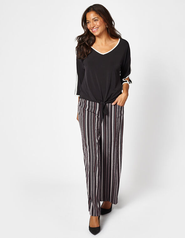 Black Open Sleeve Tie Top, Black/White, hi-res
