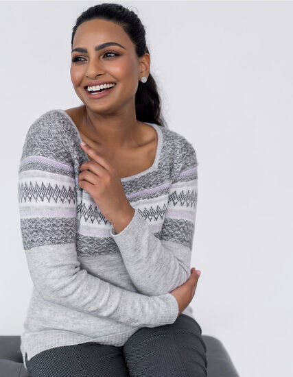Grey Fair Isle Printed Sweater, Grey, hi-res