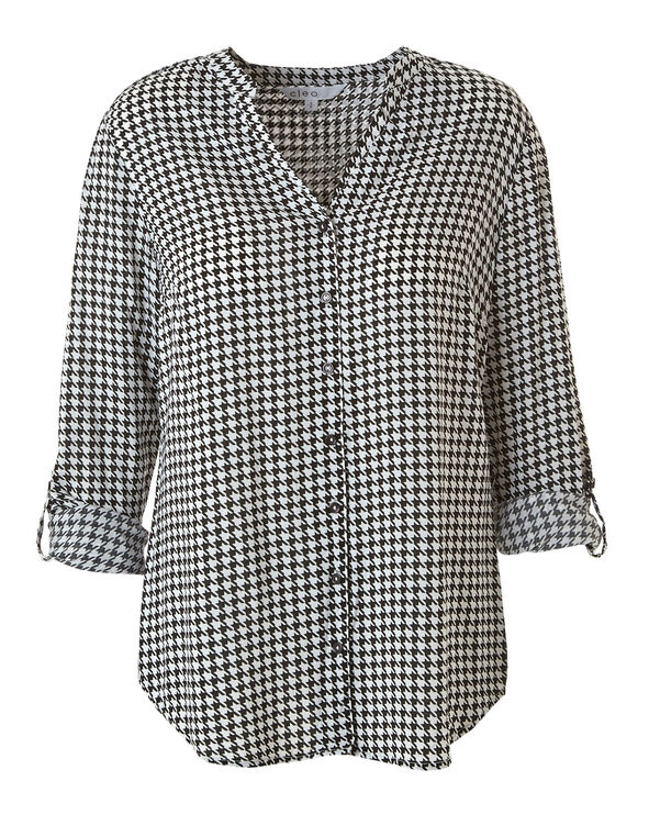 Houndstooth Roll Sleeve Blouse, Ivory, hi-res