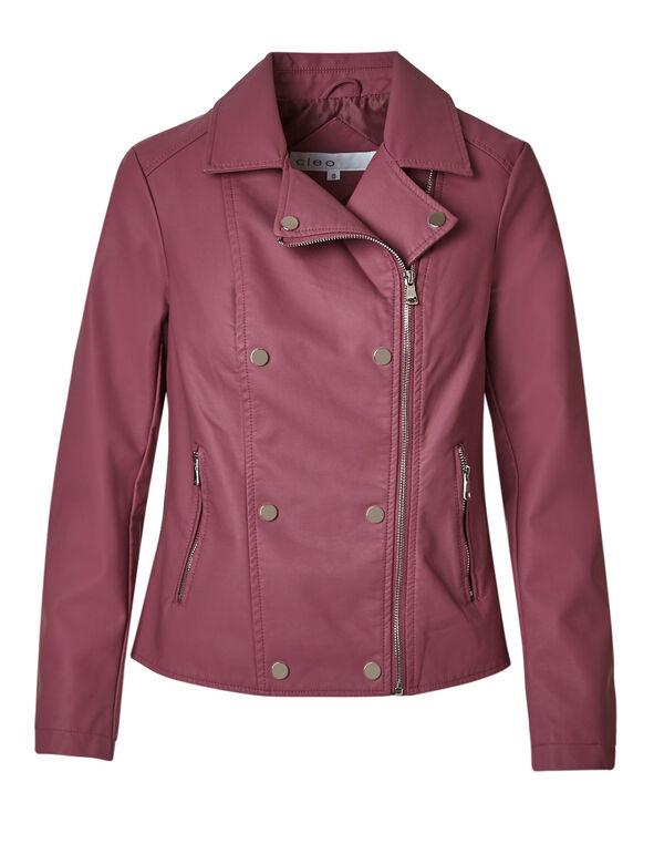 Rose Moto Faux Leather Jacket, Rose, hi-res