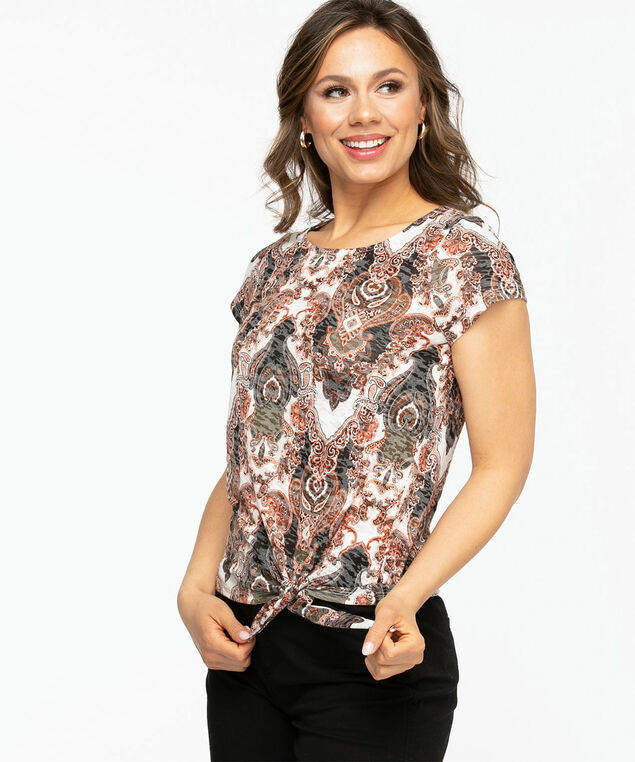 Tie Front Burn-Out Print Tee, Rust Medallion