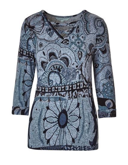 Blue Floral Printed Hacchi Top, Blue, hi-res